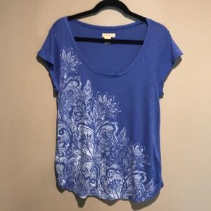 Blue Floral Print Shirt by Lucky Brand